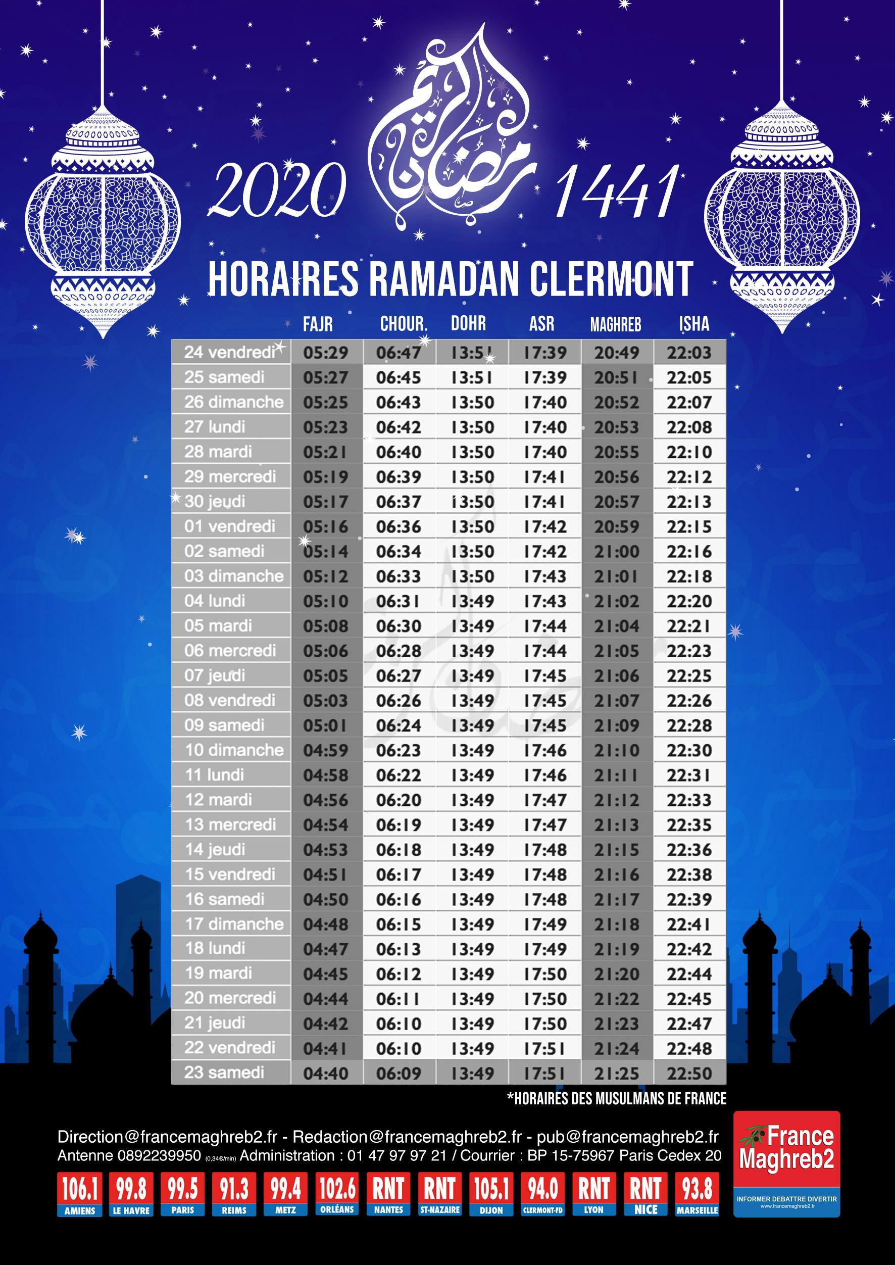 Horaires Ramadan 2020   France Maghreb 2