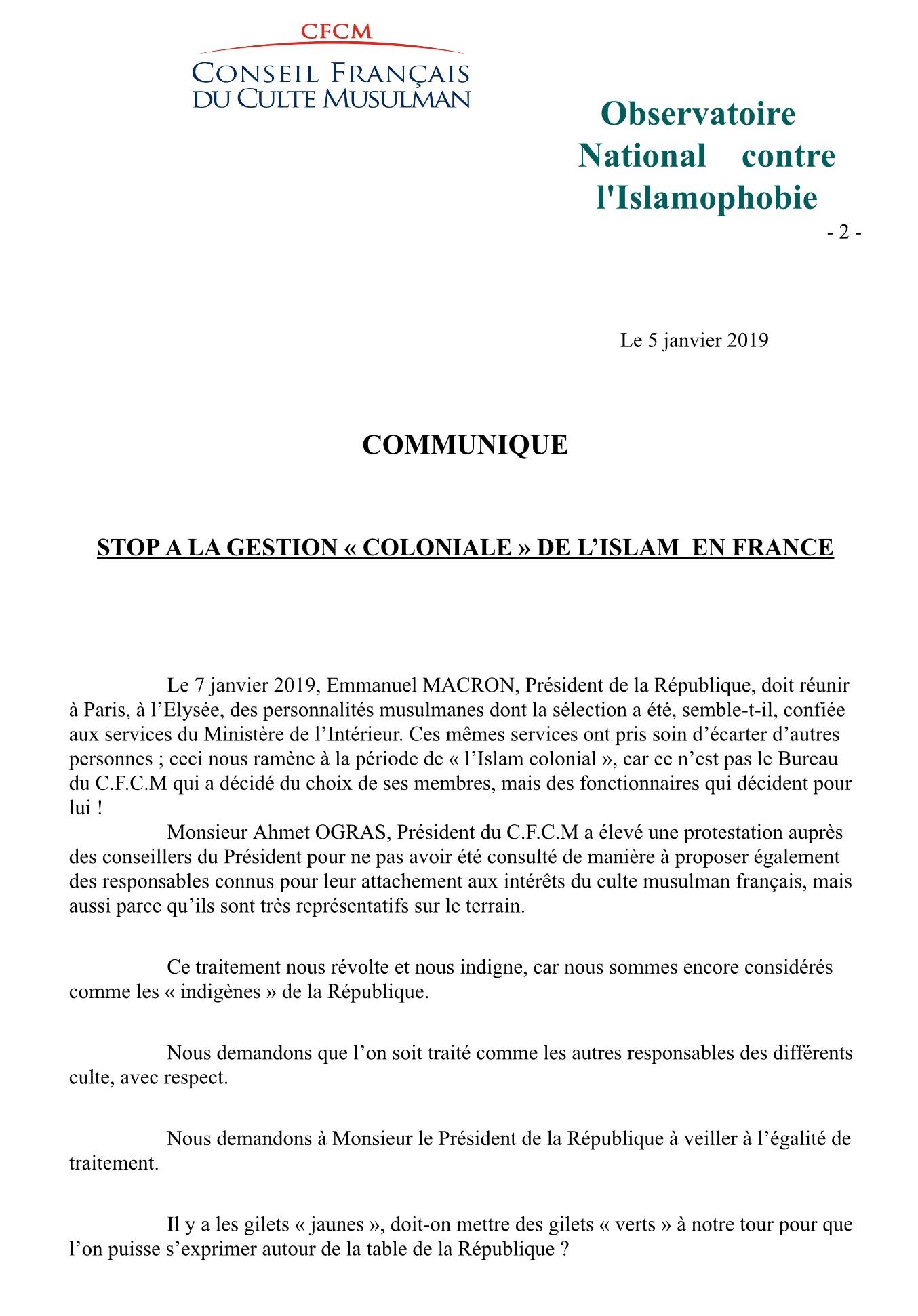 Le communiqué co-signés par le Président du CFCM et le Président de l'observatoire national contre l'islamophobie
