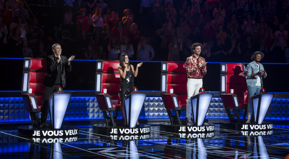 The voice 8, enregistrement auditions à l'aveugle du 12/11/18. A l'image : Julien Clerc, Jenifer, Mika et Soprano Crédit photo : Etienne Jeanneret / Bureau233