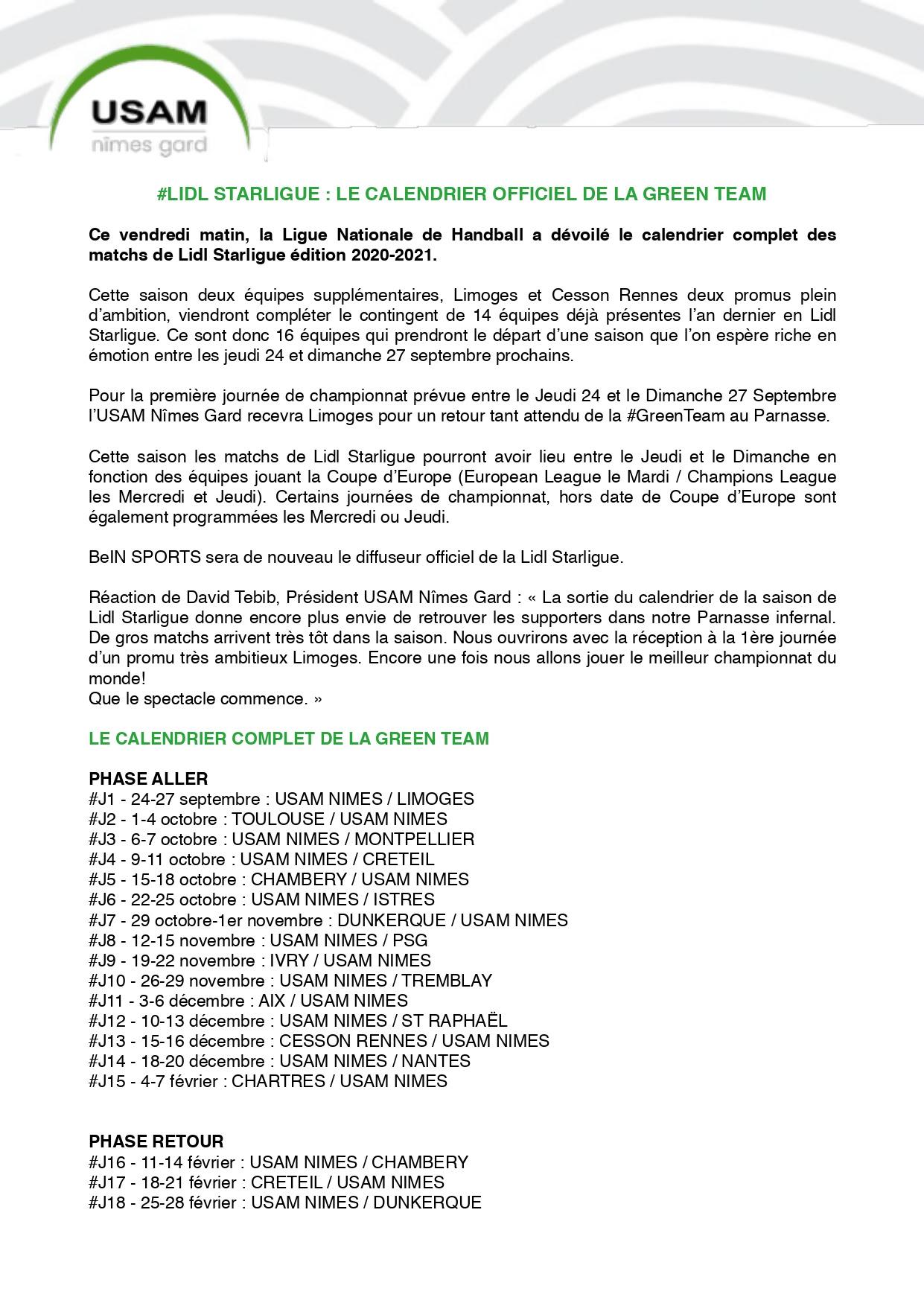 SPORT   HANDBALL ] Le calendrier officiel de la Lidl Starligue