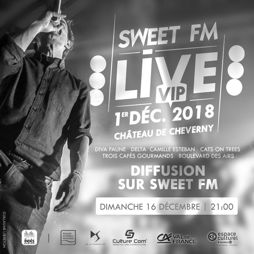 Diffusion du concert Sweet FM Live VIP 1er décembre 2018
